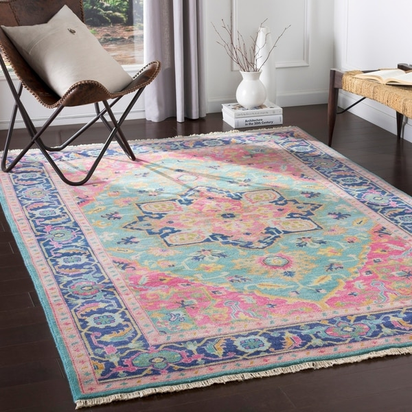 Shop Celandine Hand Knotted Pink Amp Blue Traditional Wool
