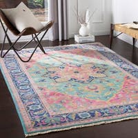 Celandine Hand Knotted Pink & Blue Traditional Wool Area Rug - 8' x 11'