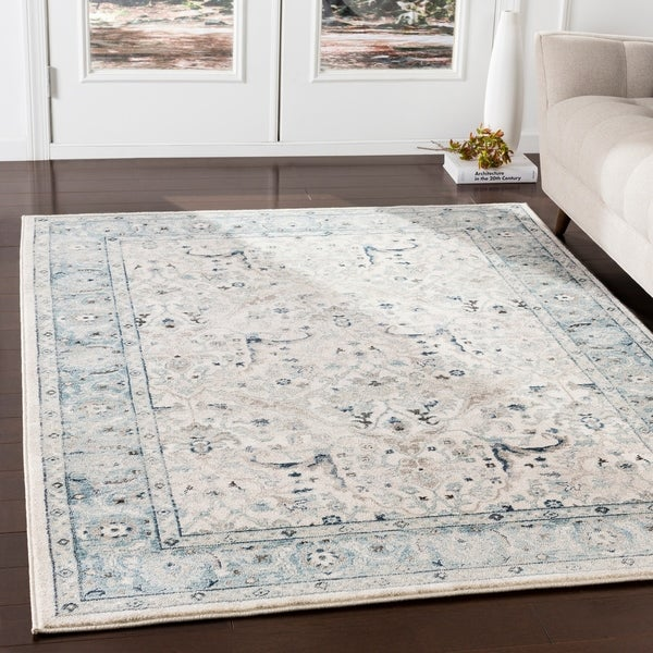 """Annelie Teal & Grey Updated Traditional Area Rug - 7'10"""" x 9'10"""""""
