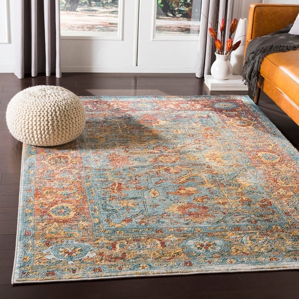 "Gabina Orange & Blue Vintage Traditional Area Rug - 3'11"" x 5'11"""