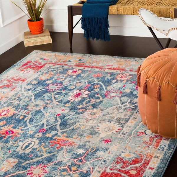 "Elias Navy & Red Updated Traditional Area Rug - 3'11"" x 5'7"""