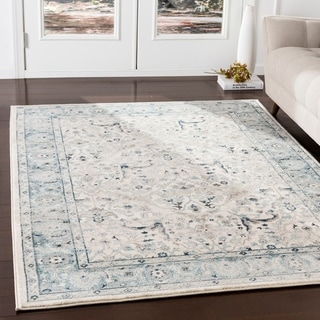 Annelie Teal & Grey Updated Traditional Area Rug - 3' x 5'