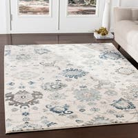 Eadgar Teal & Ivory Updated Traditional Area Rug - 9' x 12'3""