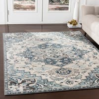Arkaitz Navy & Teal Updated Traditional Area Rug - 7'10 x 9'10