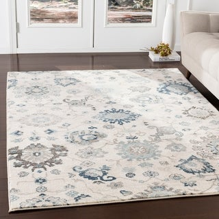 Eadgar Teal & Ivory Updated Traditional Area Rug - 3' x 5'