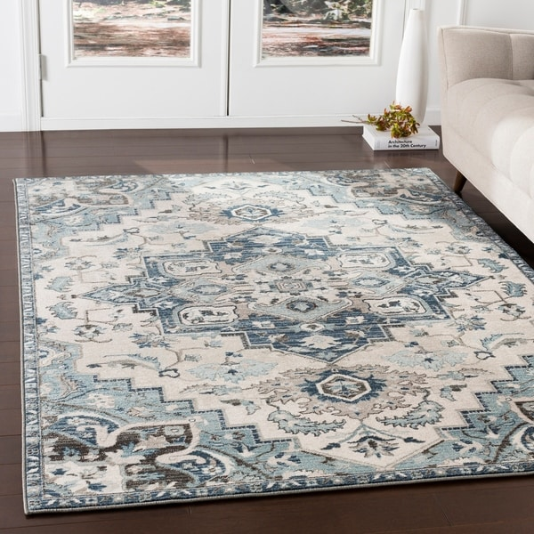 Shop Arkaitz Navy & Teal Updated Traditional Area Rug