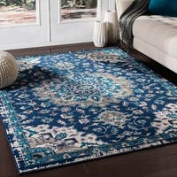 Ruba Traditional Medallion Navy Accent Rug - 2' x 3'