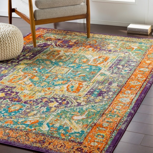 Shop Brielle Bright Traditional Green & Orange Accent Rug