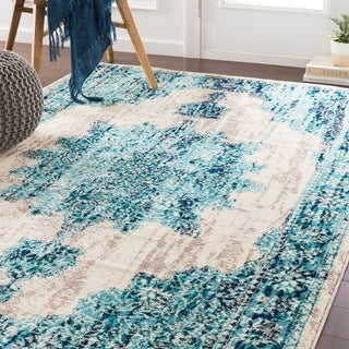 Benigno Traditional Teal Accent Rug - 2' x 3'