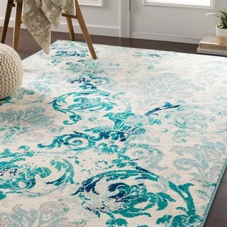 Arturas Teal Damask Accent Rug - 2' x 3'