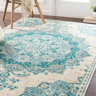 Aoede Traditional Teal/ Ivory Accent Rug - 2' x 3'