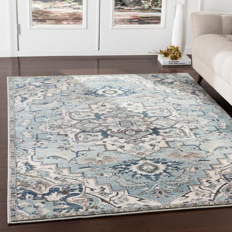 Arkaitz Teal & Ivory Updated Traditional Area Rug - 2' x 3'