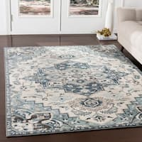 Arkaitz Navy & Teal Updated Traditional Area Rug - 2' x 3'