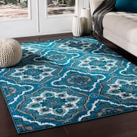 Kashi Transitional Navy Area Rug - 5'3 x 7'3