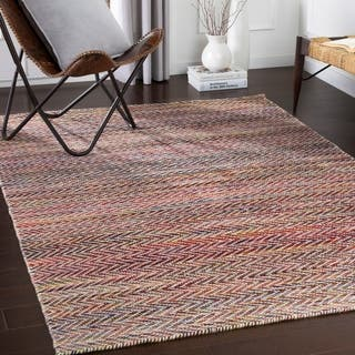 Kailyn Handmade Casual Burgundy Wool Area Rug 5 X