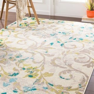 "Pavelu Transitional Lime/ Teal Area Rug - 5'3"" x 7'6"""