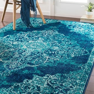 Terenzio Traditional Teal Area Rug - 5'3 x 7'6