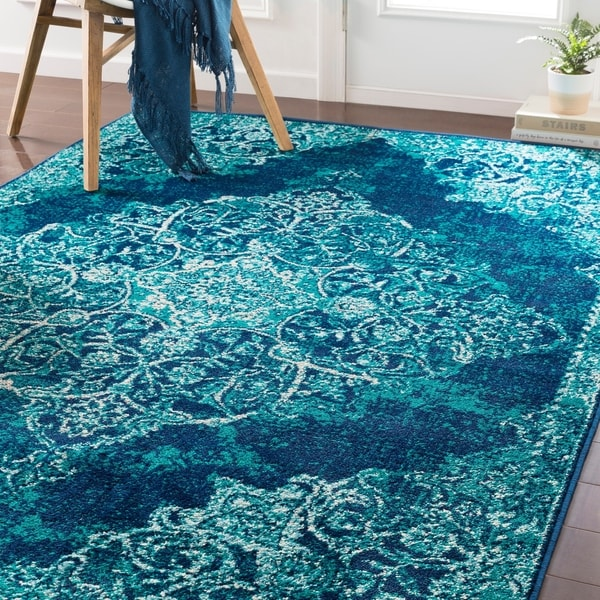 Shop Terenzio Traditional Teal Area Rug