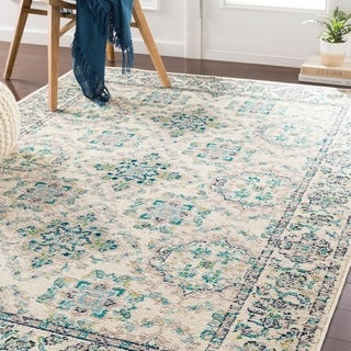 "Eveliina Transitional Teal Area Rug - 5'3"" x 7'6"""