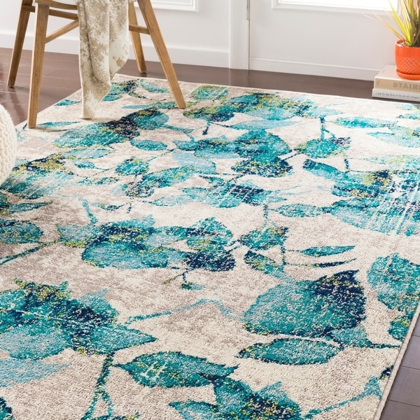 Shop Orazio Teal Floral Area Rug