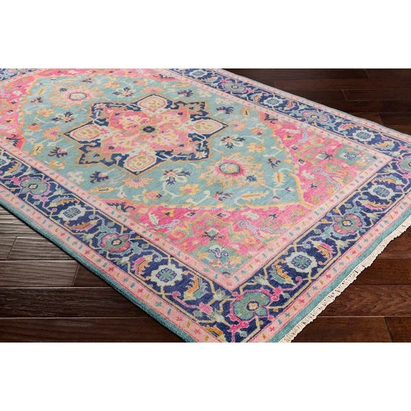 Celandine Hand Knotted Pink Blue Traditional Wool Area Rug 5 6 X 8 6 On Sale Overstock 22402854