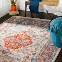 """Oksana Red & Navy Updated Traditional Area Rug - 5' x 7'9"""""""