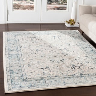 """Annelie Teal & Grey Updated Traditional Area Rug - 5'1"""" x 7'4"""""""