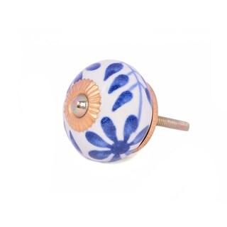 Blue Floral Ceramic Door Knob Sets Package Cabinet Drawer Pull Handles Furniture Decor Lots Set (white & blue#10)