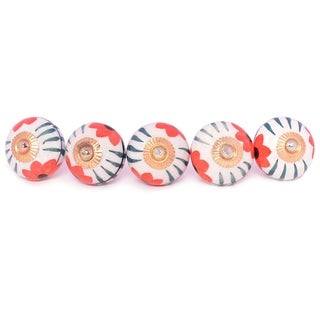 Red Floral Ceramic Door Knob Sets Package Cabinet Drawer Pull Handles Furniture Decor Lots Set (white & red#12)