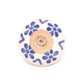 White Blue Floral Ceramic Door Knob Sets Package Cabinet Drawer Pull Handles Furniture Decor Lots Set (white & blue#10)