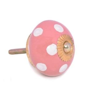 Pink Dotted Ceramic Door Knob Sets Package Cabinet Drawer Pull Handles Furniture Decor Lots Set (red#12)