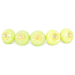 Parrot Green Ceramic Door Knob Sets Package Cabinet Drawer Pull Handles Furniture Decor Lots Set (light green#06)