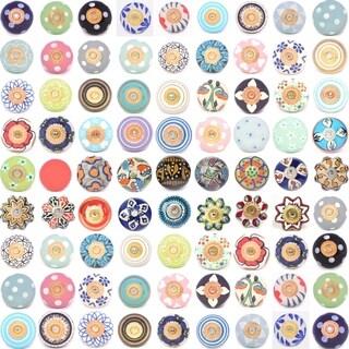 Blue Orange Floral Ceramic Door Knob Sets Package Cabinet Drawer Pull Handles Furniture Decor Lots Set