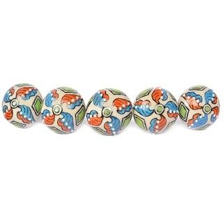 Floral Ceramic Door Knob Sets Package Cabinet Drawer Pull Handles Furniture Decor Lots Set (multi-color#12)