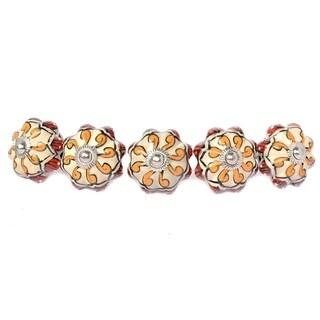Yelllow Floral Ceramic Door Knob Sets Package Cabinet Drawer Pull Handles Furniture Decor Lots Set (orange red#10)