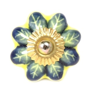 Yellow Green Floral Ceramic Door Knob Sets Package Cabinet Drawer Pull Handles Furniture Decor Lots Set (green#08)