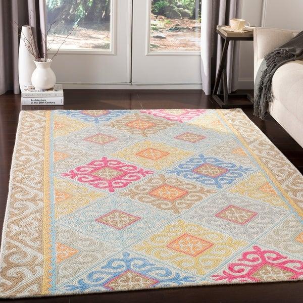 Rafaela Handmade Bohemian Blue & Pink Wool Area Rug - 8' x 10'