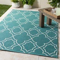 "Cirillo Teal Indoor/Outdoor Trellis Area Rug - 8'9"" x 12'3"""