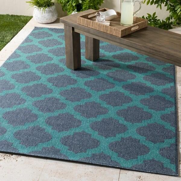 Shop Bartolo Teal & Navy Moroccan Indoor/Outdoor Area Rug