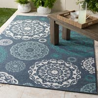 "Arrigo Transitional Navy Indoor/Outdoor Area Rug - 8'9"" x 12'3"""