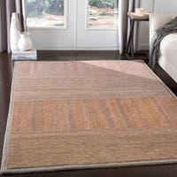 Isocrates Handmade Modern Orange Rust Wool Area Rug - 8' x 10'