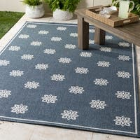 "Elda Floral Navy Indoor/Outdoor Area Rug - 8'9"" x 12'9"""
