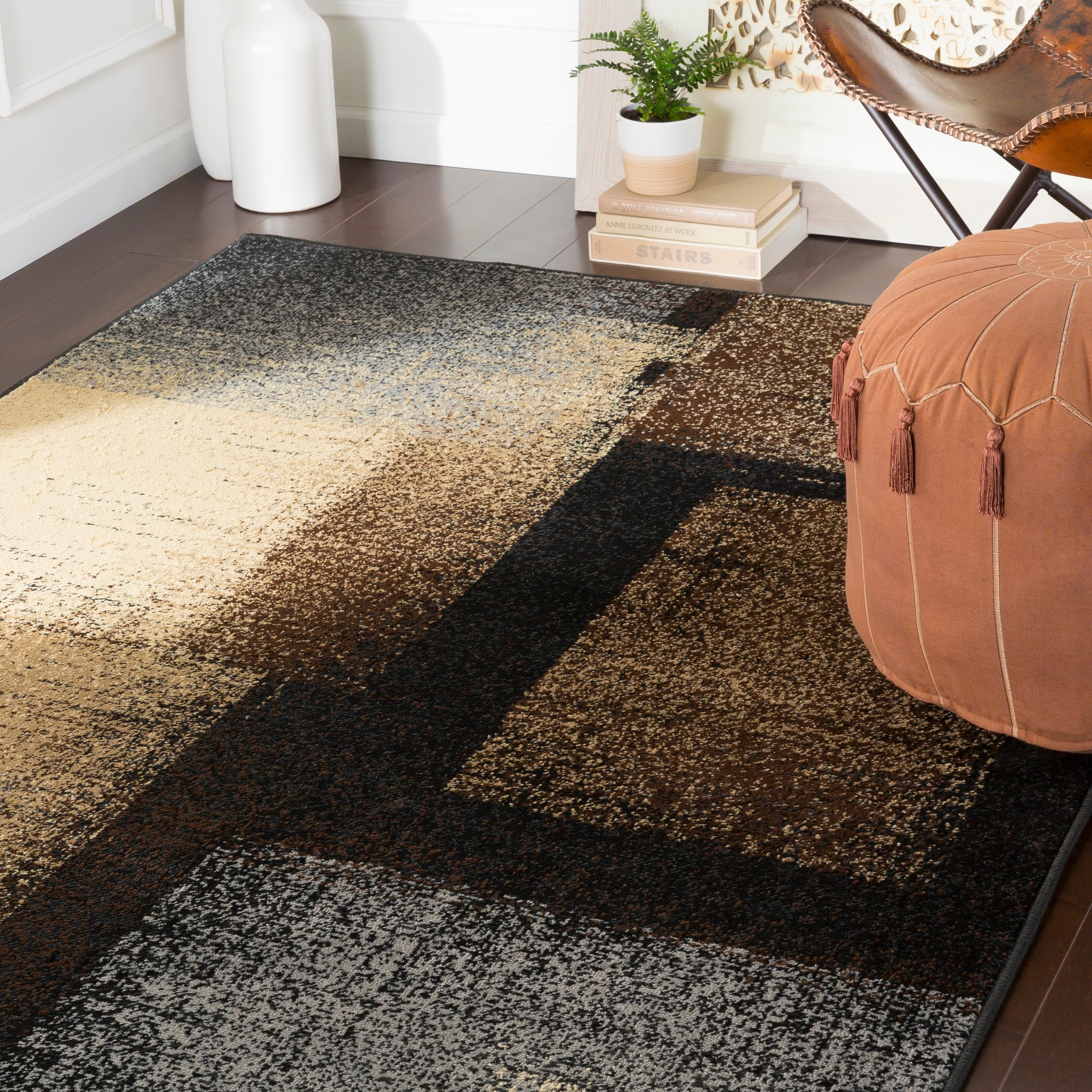 Hypatia Contemporary Brown Grey Area Rug 6 7 X 9 6 On Sale Overstock 22403101