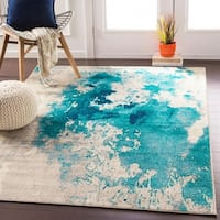 Milana Teal Abstract Area Rug - 6'7 x 9'6
