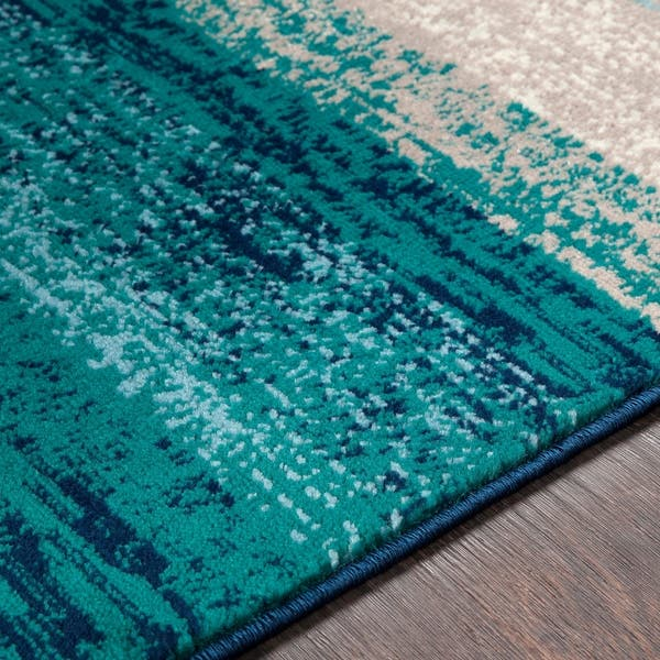 Nurzhan Teal Contemporary Striped Area Rug 8 10 X 12 9 8 10 X 12 9 On Sale Overstock 22403127