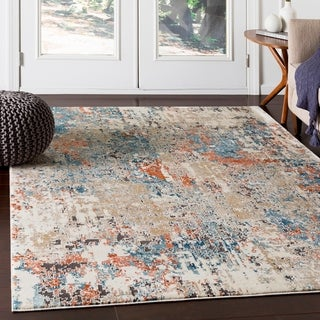 "Porch & Den Highcreek Orange & Teal Abstract Area Rug - 6'7"" x 9'6"""