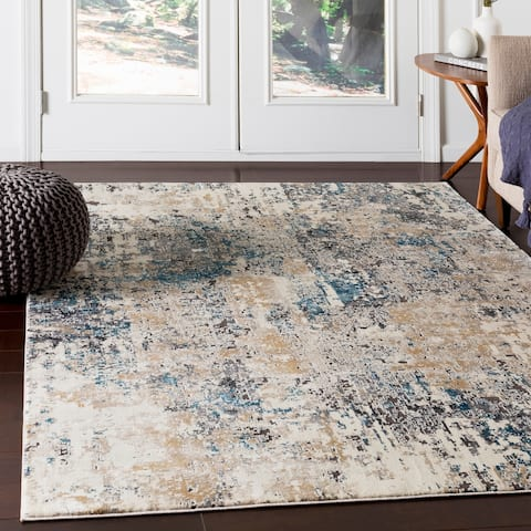 """Porch & Den Highcreek Charcoal & Teal Abstract Area Rug - 9'3"""" x 12'3"""""""