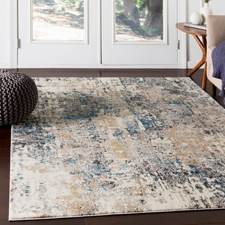 "Porch & Den Highcreek Charcoal & Teal Abstract Area Rug - 9'3"" x 12'3"""