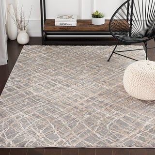 "Dalha Contemporary Grey/Khaki Area Rug - 6'7"" x 9'6"""