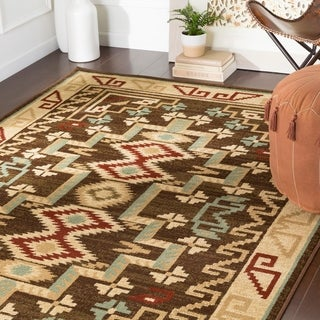 "Mithra Dark Brown Southwestern Area Rug - 8'10"" x 12'2"""
